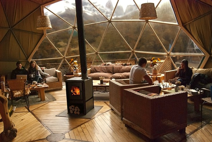 EcoCamp Patagonia community dome living room