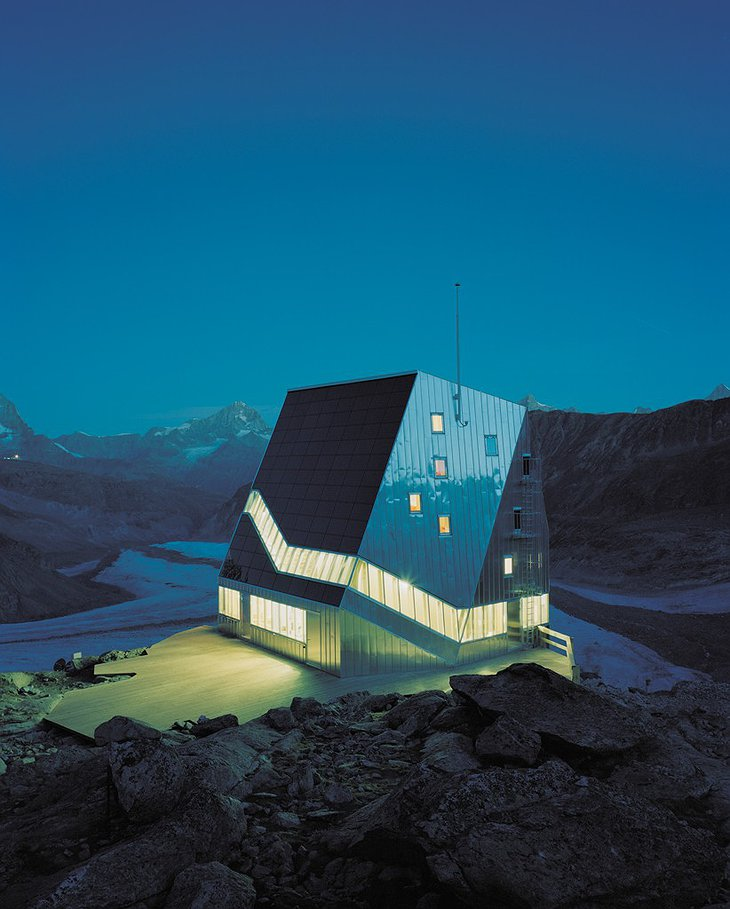 The New Monte Rosa Hut in the night