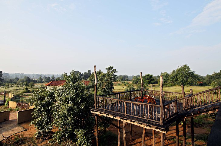 Samode Safari Lodge wooden platform with panoramic views
