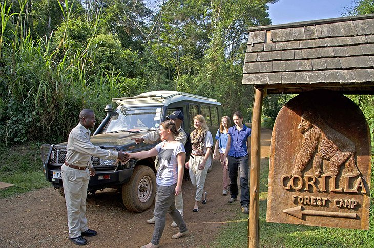 Sanctuary Gorilla Forest Camp arrival by 4x4 Jeep