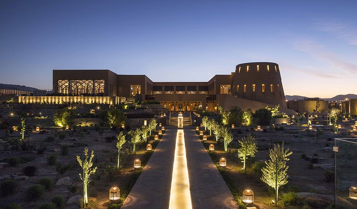 Anantara Al Jabal Al Akhdar Resort exterior at night