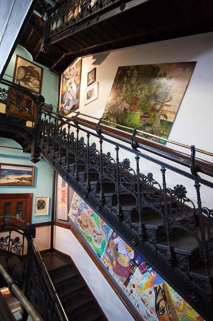 Hotel Chelsea staircase filled with art