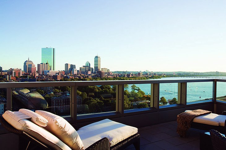 Liberty Hotel rooftop terrace with splendid view on Boston