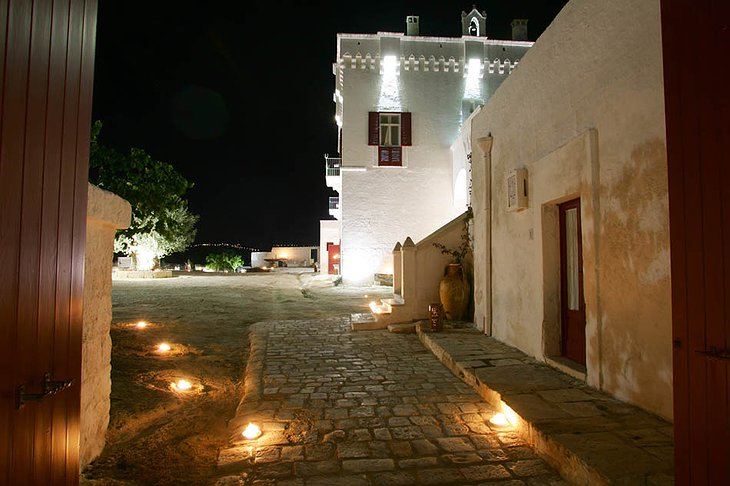 Masseria Torre Coccaro building at night