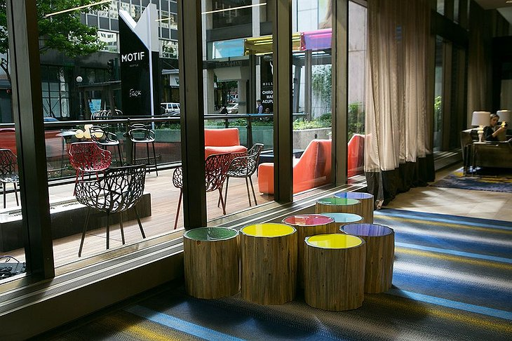 Colorful design chairs in the lobby