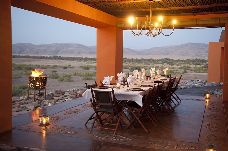 Okahirongo Elephant Lodge dining with sunset view