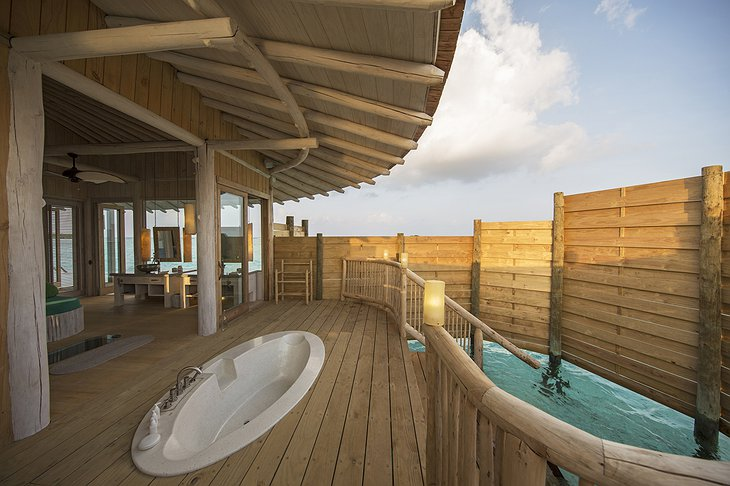 Soneva Jani Maldives 3 bedroom villa outdoor bathroom