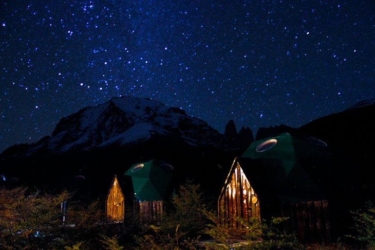EcoCamp Standard Domes in the starry night