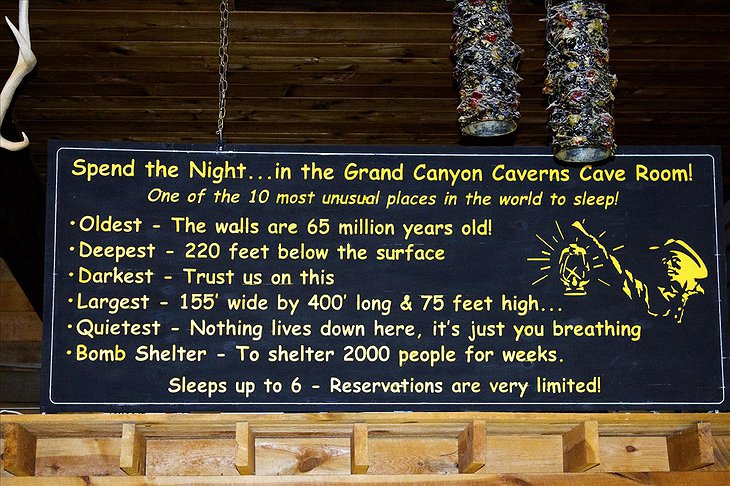 Grand Canyon Caverns Cave Room sign with information