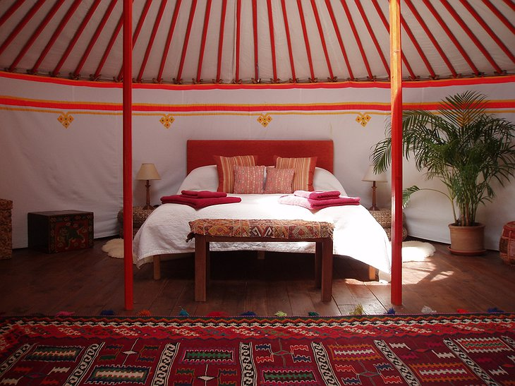 The Hoopoe Yurt Hotel Mongolian yurt interior