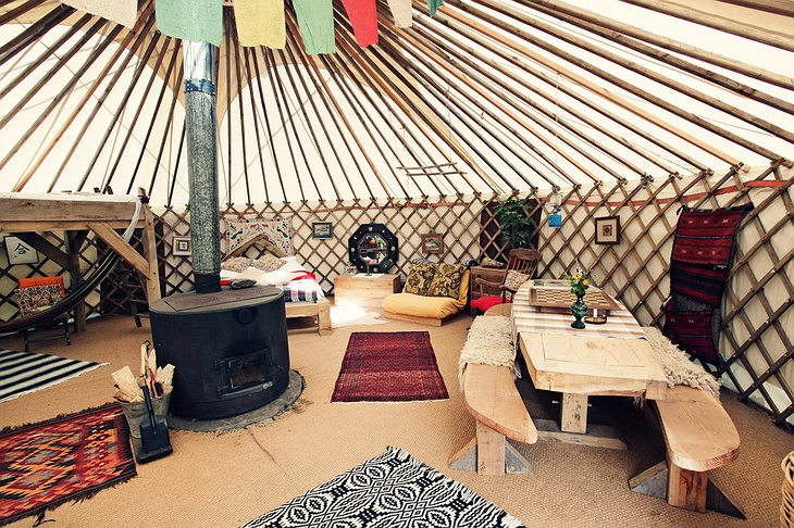 Black Mountains Yurt interior