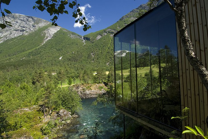 Juvet Landscape Hotel glass cabins with river view
