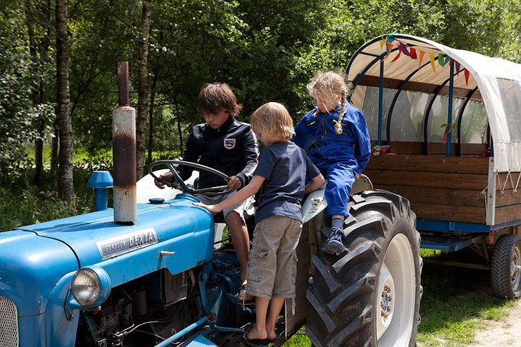 Kids on tractor