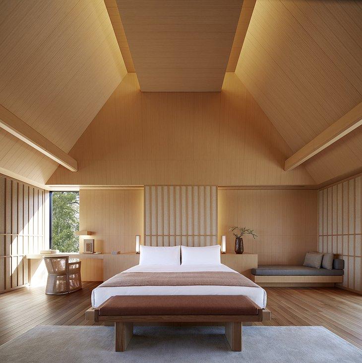 Amanemu Japanese villa bedroom in minimalist style