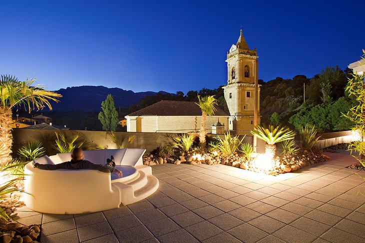 Hotel Viura rooftop terrace at night