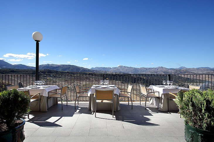 Parador de Ronda terrace with mountain view