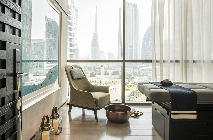 Four Seasons Dubai DIFC massage room with city panorama