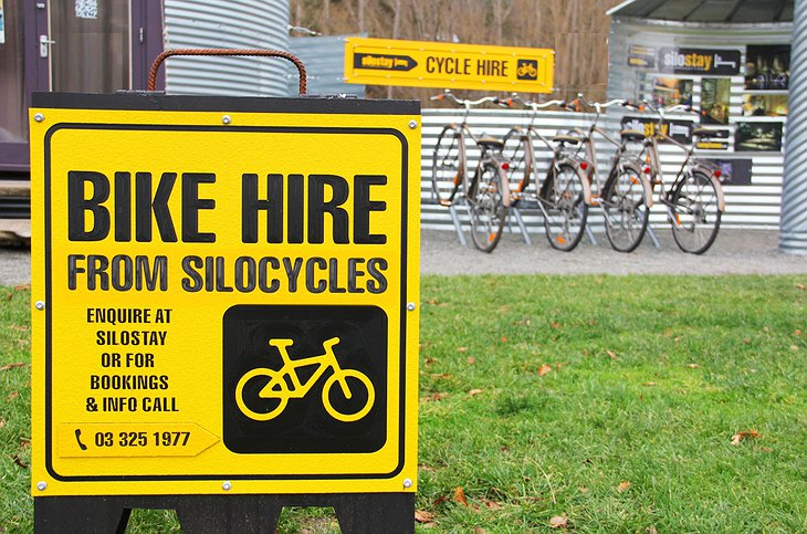 SiloStay bike hire sign