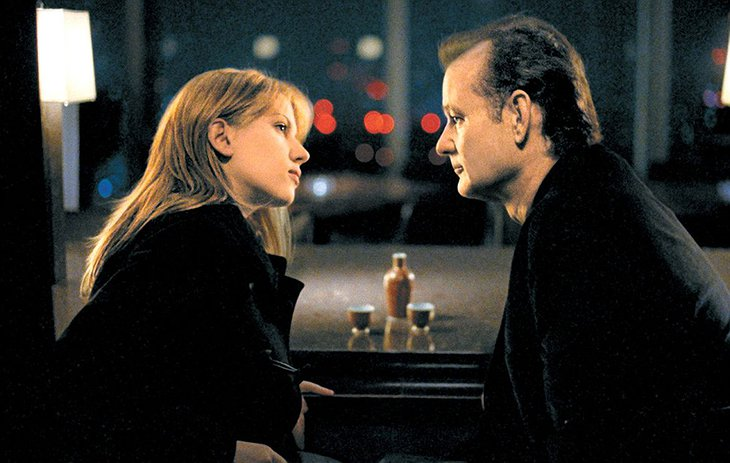 Bill Murray and Scarlett Johansson aka Bill and Charlotte, having a talk in the New York Bar in the Lost in Translation movie