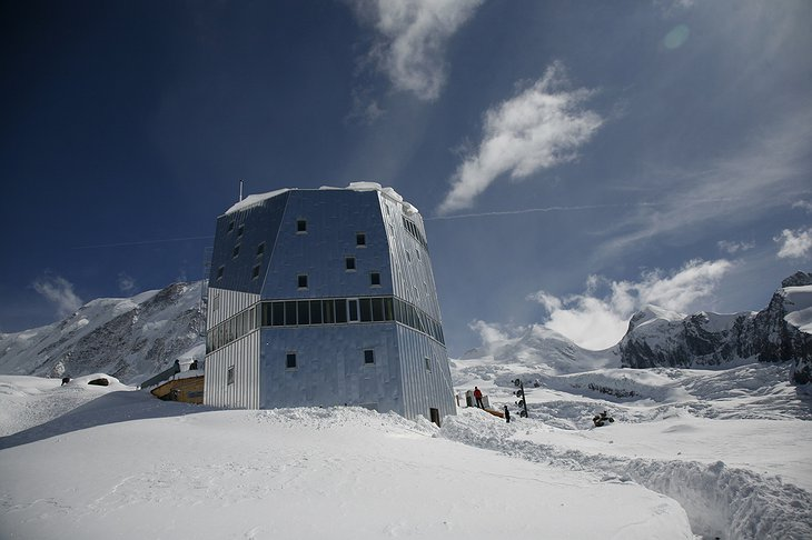The New Monte Rosa Hut in winter