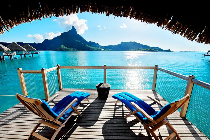 Over water bungalow balcony with ocean views