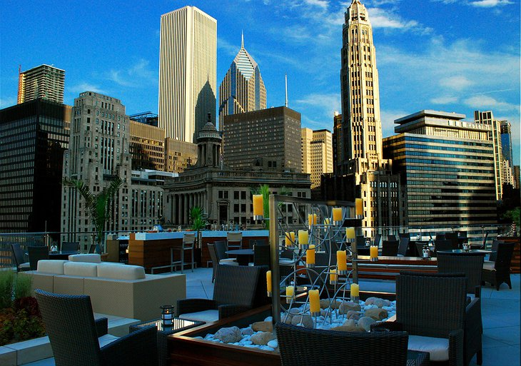 Trump Hotel Chicago rooftop with Chicago skyline panorama