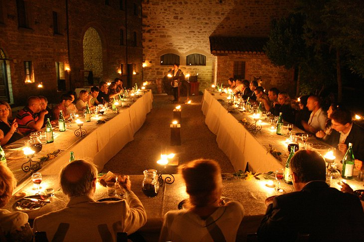 Castello di Petroia terrace dining in traditional atmosphere