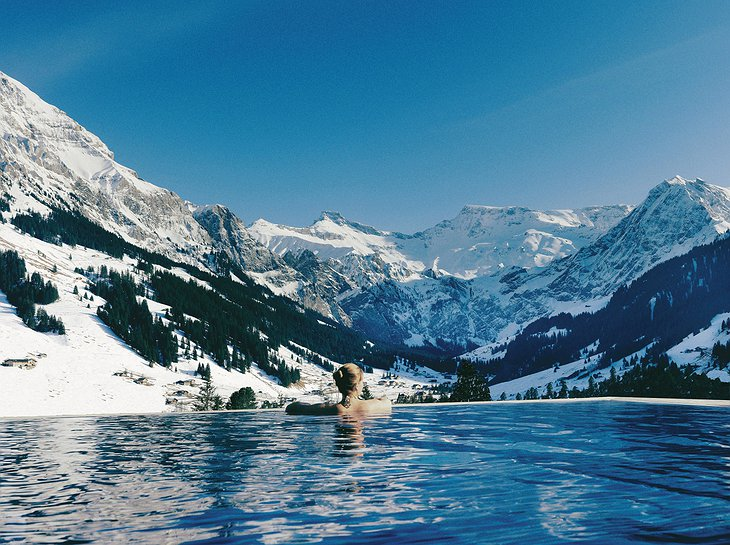 The Cambrian outdoor pool with breathtaking Alps panorama