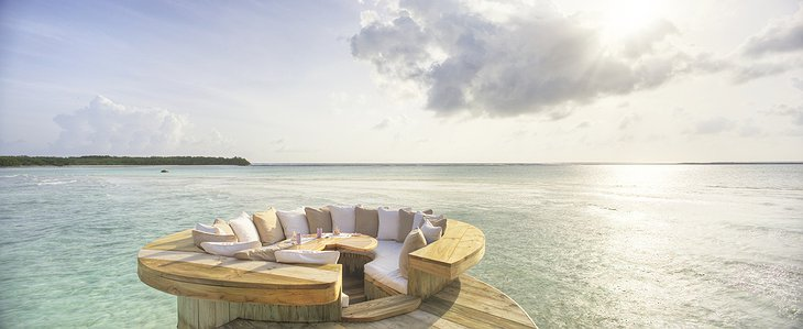 Soneva Jani Maldives panorama seating above the ocean