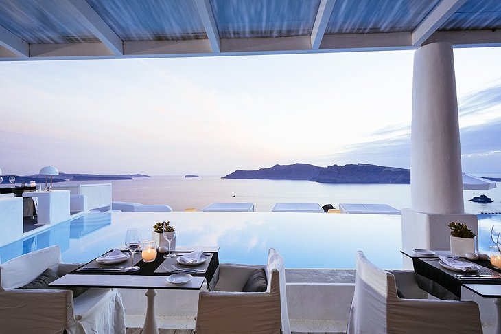 Anthos Restaurant terrace with Aegean Sea view