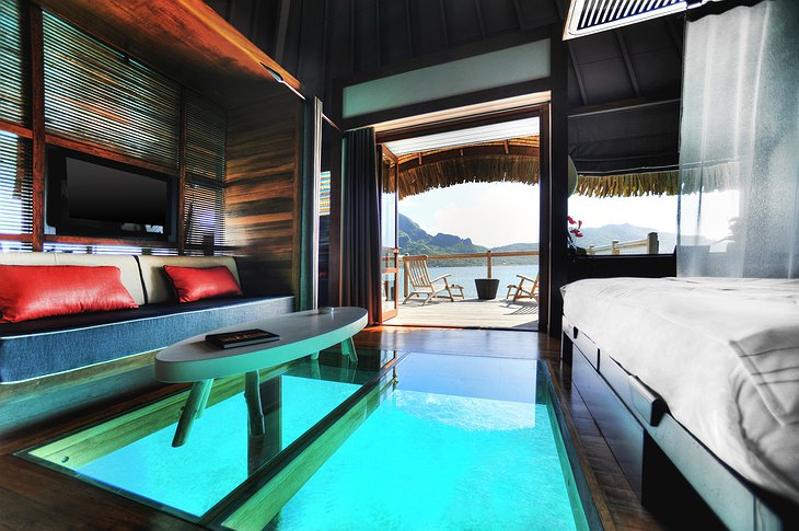 Glass floor with ocean view in the over water bungalow at Le Méridien Bora Bora