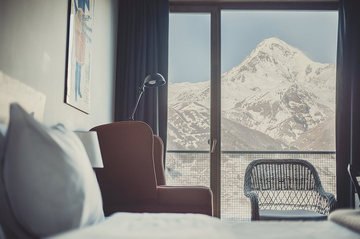 Rooms Hotel Kazbegi Bedroom with Mountain View
