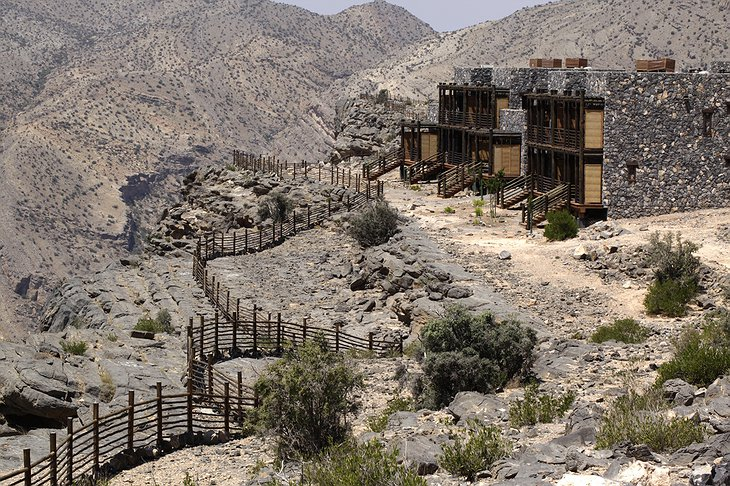 Alila Jabal Akhdar buildings on the rocks