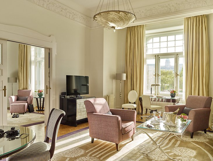 Four Seasons Hotel Gresham Palace suite with Royal Palace view