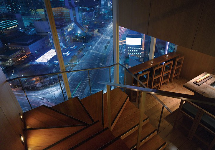 Park Hyatt Seoul staircase with panorama views