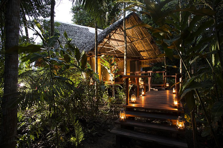 Inkaterra Reserva Amazonica Lodge Cabana (Cottage) at Night