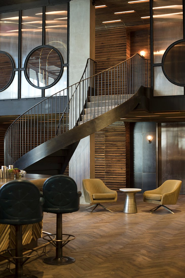 The Williamsburg Hotel circle metal stairs