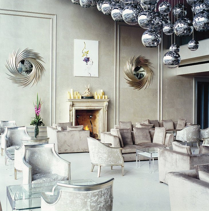 The G Hotel common design room with silver balls hanging from the ceiling