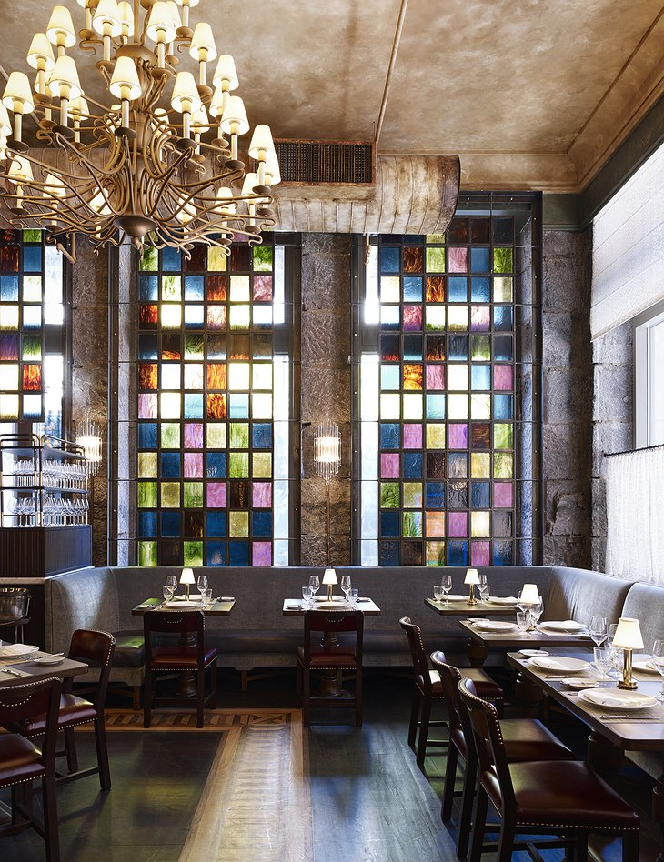The Beekman Hotel restaurant with colorful windows