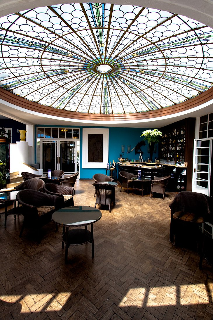 The Palm Court in Burgh Island Hotel