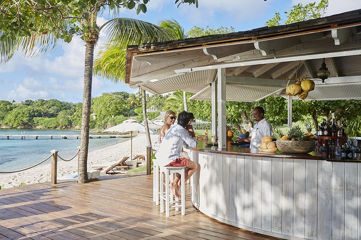 Mustique Island bar at the beach