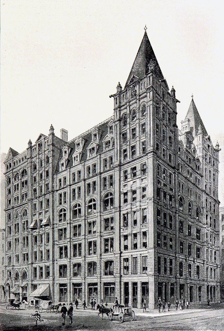 The Temple Court Building and Annex in 1893 - Reopened in August 2016 as the Beekman Hotel after extensive renovations