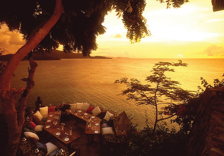 Necker Island sunset dining