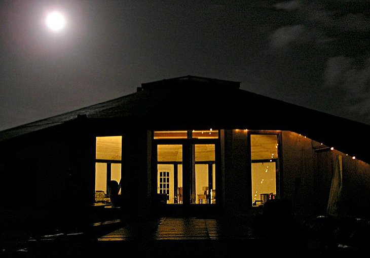 Gyreum Ecolodge entrance at night