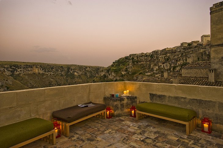 Hotel Basiliani rooftop terrace with Matera view