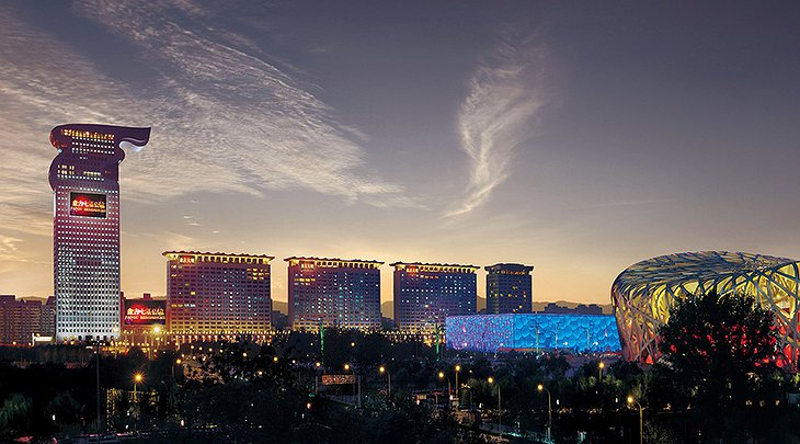 Pangu 7 star hotel Beijing building at night
