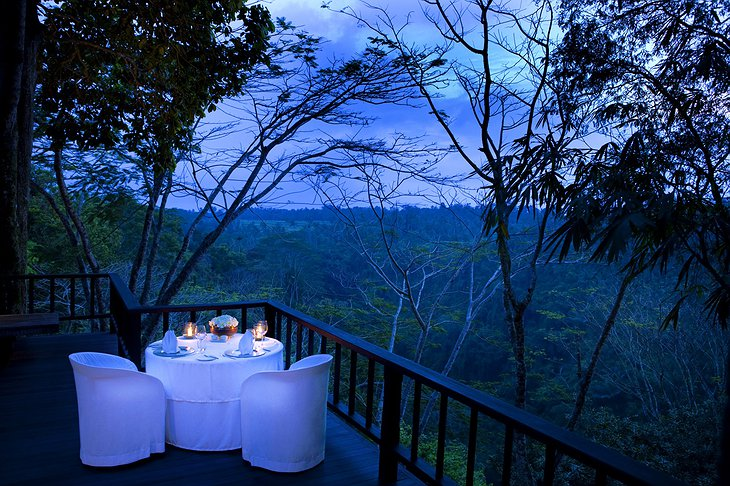 Intimate dining on the terrace with jungle views