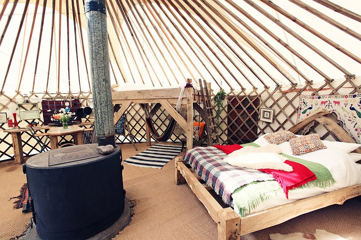 Black Mountains Yurt oak double-bed