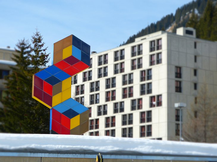 Totem Flaine Hotel building exterior with artwork