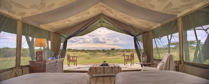 Richard's Camp tent with view on the Kenyan nature